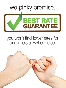 Best Rate Guarantee. We Pinky Promise. You won't find lower rates for our hotels anywhere else. Banner